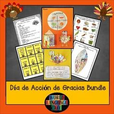 Dia de Accion de Gracias Bundle - Bake pies instead of writing lesson plans.  Vocab Games, Crafts, Writing Projects, Speaking Activities, for Spanish 1-5.