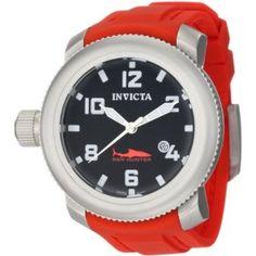 Invicta Men's 1691 Sea Hunter Black Dial Red Rubber Watch