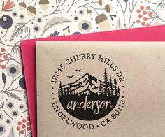 Custom Address Stamp with Mountains wedding housewarming by MySplendidSummer   Etsy