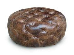 Chocolate Pull-Up LARGE Round Tufted Cocktail Ottoman