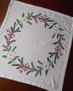 Vintage Christmas tablecloth topper with embroidered pine branches -- square -- from Germany