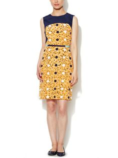 Silk Contrast Sheath Dress by Moncollet on sale now on Gilt.