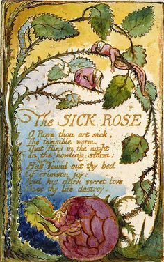 """""""The Sick Rose"""" by William Blake    O Rose thou art sick.  The invisible worm,  That flies in the night  In the howling storm:  Has found out thy bed  Of crimson joy:  And his dark secret love  Does thy life destroy.    The Sick Rose, 1794  William Blake (1757-1827)  The Huntington Library, Art Collections, and Botanical Gardens, San Marino, California, USA"""