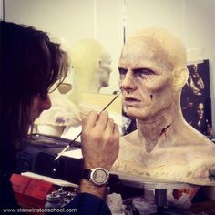 What does it take to make a great #vampire? John Rosengrant adds some extra paint to the facial #prosthetics of actor Tom Cruise for his memorable role as #lestat in Interview with the Vampire from 1994. #vampires #makeupeffects #specialeffectsmakeup #spfxmakeup #prostheticmakeup #charactermakeup #stanwinstonstudio #behindthescenes #hollywood #moviemagic #horror #vampiremakeup #lestatdelioncourt #paintwork