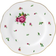 ROYAL ALBERT New Country Roses salad plate 20cm ($18) ❤ liked on Polyvore featuring home, kitchen & dining, dinnerware, rose bone china, country style dinnerware, royal albert, rose dinnerware and floral salad plate