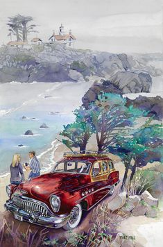 Buick at Battery Point Painting by Mike Hill - Buick at Battery Point Fine Art Prints and Posters for Sale