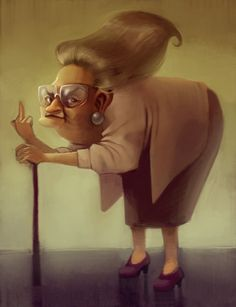 can you believe this is classed as Artwork-Rough! By the extremely talented loish Funny Old People, Old Folks, Funny Animal Pictures, Funny Photos, Old Lady Cartoon, Old Lady Humor, Loish, Funny Caricatures, Cute Girl Face
