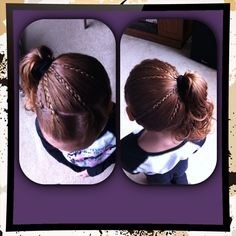 Mini braids pulled into a side ponytail