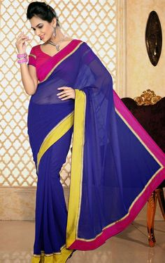 Picture of Ravishing Royal Blue Party Wear Saree Online