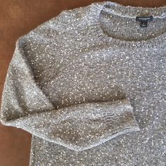 Gray/Silver Sequin Sparkly Knit Sweater Beautiful gray Ann Taylor sparkly gray sweater with sequins. Good condition. Ann Taylor Sweaters Crew & Scoop Necks