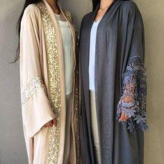 Limited edition Qabeela evening abayas. #qabeela #luxabayas #luxurylife #nude #gunmetal