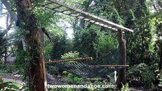 Ladder trellis over hammock