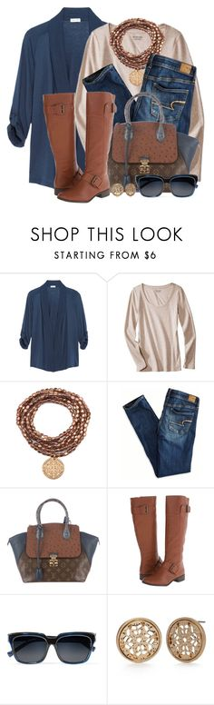 """""""Cardigan, Tee & Tall Boots"""" by brendariley-1 ❤ liked on Polyvore featuring Splendid, American Eagle Outfitters, Louis Vuitton, Nine West, self-portrait and Red Camel"""