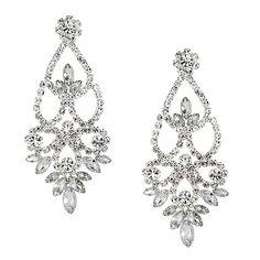 Jon Richard Peardrop crystal stone surround drop earring- at ...