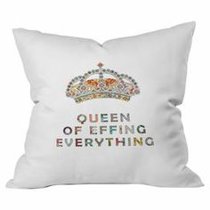 Add delightful appeal to your sofa or bedspread with this charming throw pillow, featuring a hand-embroidered crown design and typographic motif.  Product: PillowConstruction Material: PolyesterColor: White and multiFeatures:  Made in the USAConcealed zipperInsert included Cleaning and Care: Machine wash cold and tumble dry low