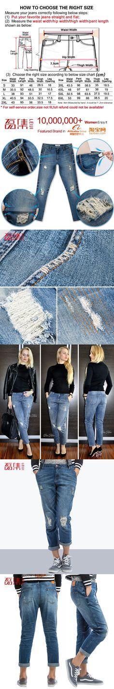 9bfd656c3e39 Blue Fashion Ripped Jeans for women Plus Size Boyfriend jeans for Women Pant  Capris Denim Elastic cotton Straight Pant mid waist