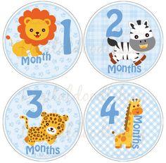12 baby month stickers boy safari animals (43)  monthly onesie stickers. $9.00, via Etsy.
