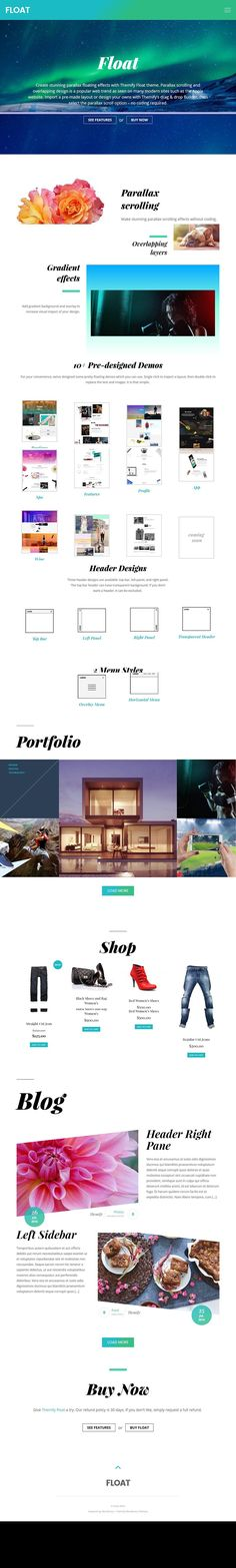 Float is a responsive WordPress theme suitable for portfolio or magazine websites. It helps you to create stunning parallax floating effects for your content. Premium Wordpress Themes, Blog, Apple, Magazine, Design, Trendy Tree, Apple Fruit, Blogging, Magazines