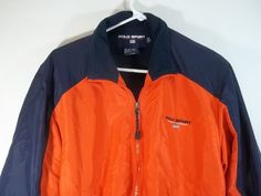 Polo Sport Ralph Lauren Jacket Coat Orange Blue M VTG Flag Logo Lined #PoloSport #BasicJacket