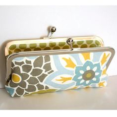 Kisslock Clutch in Blue Gray Green and Yellow Modern by kailochic, $40.00