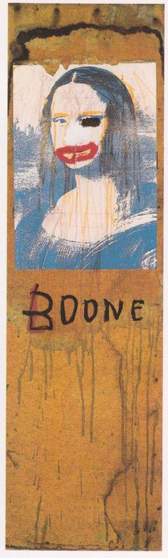 Jean- Michel Basquiat 'Boone' 1983 Painting 	In Jean- Michel Basquiat's painting Boone he painted over a picture of the Mona Lisa to make her look like his art Dealer. Also the eye is blacked out to symbolize both dimensions. One of the dimensions in the picture that is blacked out contains thinking and the other seeing normal.