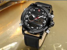 Men's Analog Watch Digital Leather Sport Military Quartz – Watch Whole Big Watches, Cheap Watches, Best Watches For Men, Cool Watches, Wrist Watches, Mens Sport Watches, Casio Watch, Digital Watch, Quartz Watch