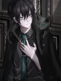 anime boy with black cat Anime Chibi, Kawaii Anime, Chica Anime Manga, Hot Anime Boy, Cute Anime Guys, Anime Boys, Dark Anime Guys, Fan Art Anime, Anime Artwork