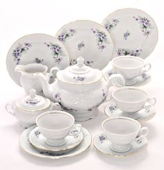Tea With Grace Violet Fine China Tea Set for Four Coffee Cup Set, Tea Cup Set, Coffee Pods, Loose Tea Infuser, Buy Tea, China Tea Sets, Shabby Chic, Tea Service, China Dinnerware