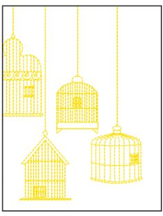 Cute birdcage embroidery for baby onesie