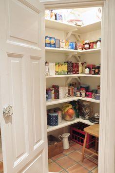 Kitchen Pantry, Kitchen Storage, Larder, White Farmhouse, Room Lights, Home Kitchens, Laundry Room, Bookcase, Shelves