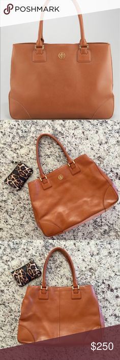 Tory Burch Robinson Tote in Tan Tory Burch Robinson Large Tote in Tan. Made from beautiful saffiano leather. It fits a laptop and plenty more.  It's in good preloved condition, with some wear on the corners and the handle and a scoff on the bottom front but nothing noticeable when you're carrying it. Tory Burch Bags Totes