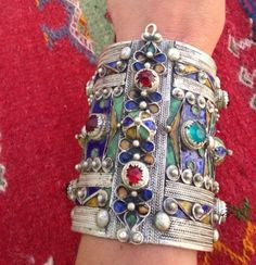 Vintage Moroccan Berber Silver Enamel Cuff Giant Convertible Box   eBay