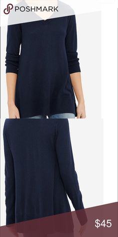 NWT THE LIMITED V-Neck Trapeze Tunic NWT. Beautifully soft and cuddly. Pretty dark blue. Soft stretch knit. 53% Cotton, 40% Rayon and 7% Nylon. The Limited Sweaters V-Necks