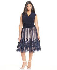 SL Fashions Plus Size Embellished Lace A-Line Dress - Dresses - Plus Sizes - Macy's