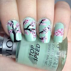 Cherry Blossom Nail Art #nailart #green #polish #nails - bellashoot.com