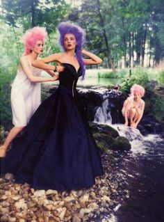 Michele Hicks, Esther Cañadas, and Jan Dunning in Gallino Haute Couture photographed by Ellen von Unwerth for Vogue Italia, September 1997.