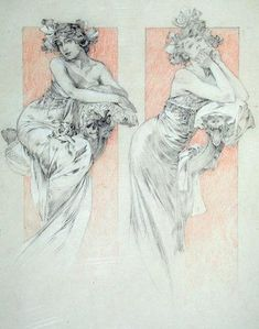 """Mucha, Alphonse Marie -- """"Study for plate 12 from 'Documents Decoratifs', 1902 """" -- High quality art prints, canvases, postcards -- Mucha Foundation Prints"""