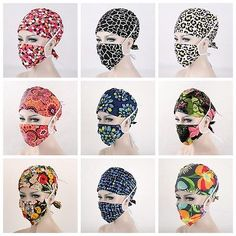 New 32 Kinds Pattern Flower Printing Scrub Cap Medical Surgical Surgery Hat+Mask Scrubs Pattern, Scrub Hat Patterns, Diy Mask, Diy Face Mask, Sewing Patterns Free, Sewing Tutorials, Pattern Flower, Flower Patterns, Surgical Caps
