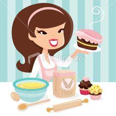 Retro Girl Baking Royalty Free Stock Vector Art Illustration