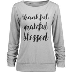 Thanksgiving Thankful Blessed Sweatshirt ($12) ❤ liked on Polyvore featuring tops, hoodies, sweatshirts, shirts, grey top, grey shirt, shirt top, gray sweatshirt and gray shirt