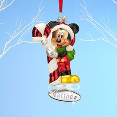 Santa Mickey Mouse Glass Sketchbook Ornament - Personalizable Mickey Mouse Christmas Tree, Christmas Ornaments, Disney Merchandise, Wonderful Time, Santa, Costumes, Toys, Holiday Decor, Glass