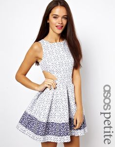 ASOS PETITE Exclusive Skater Dress In Broderie Anglaise