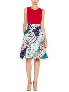 Mikado Collage Print Silk  Skirt from Oscar de la Renta Apparel on Gilt
