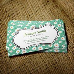 Customizable Craft Artist - Elegant Green Daisy Business Cards