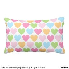 Cute candy hearts girly custom pillow