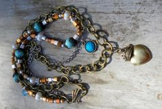 Silver Gold Turquoise Neckace Crowned Heart Mixed by TeslaDesigns, $26.00