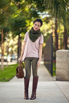 Fall Colors :: Olive scarf & Brown riding boots : Wendy's Lookbook