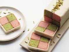 Luis Trayano's rose and pistachio Battenberg cake