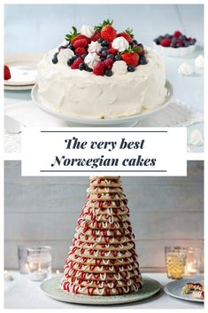 The Best Norwegian Cakes: Traditional cakes and tarts from Scandinavia for birthdays, weddings and other celebrations. Norwegian Cuisine, Norwegian Food, Norwegian Cake Recipe, Nordic Recipe, Swedish Recipes, Norwegian Recipes, Donuts, Norway Food, Norwegian Christmas