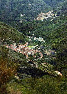 View over Pigna and Castel Vittorio. Pigna is a comune in the Province of Imperia in the Italian region Liguria,